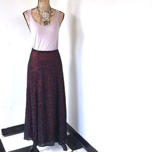 Dresses & Skirts - Maxi skirt hand multicolor beads red lined sz XS